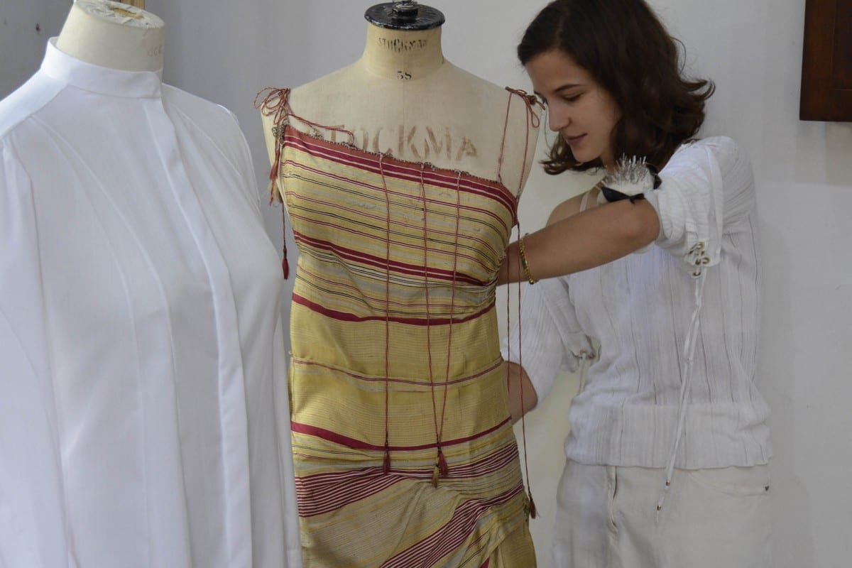 LVP working in the studio in an old mansion in Zoqaq El Blatt. The piece I'm draping is a 100 year old hand-loomed silk shawl from Damascus. We restored it to lighten the fabric and get some of the original golden glow back.