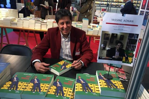 Yassin Adnan at a book signing of his first novel Hot Maroc on 7 March 2020 [Yassin Adnan/Twitter]