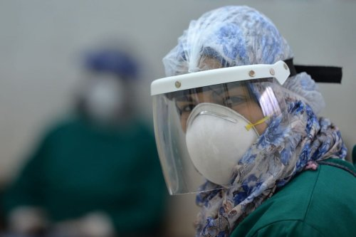 A member of the medical staff at the infectious diseases unit in Cairo, Egypt on 19 April 2020 [AHMED HASAN/AFP/Getty Images]