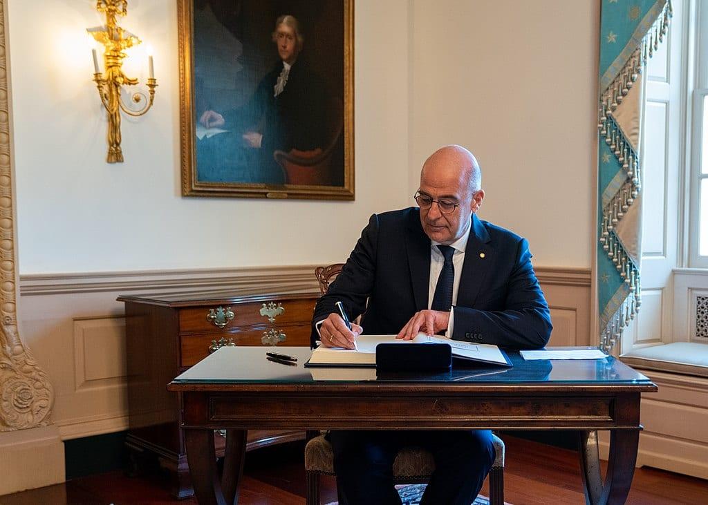 Greek Foreign Minister Nikos Dendias in Washington, DC, on 17 July 2019. [Wikipedia]