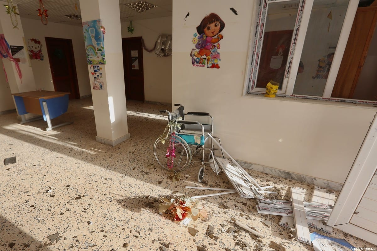 An interior view of the damaged military hospital after a rocket attack by forces loyal to warlord Khalifa Haftar in Tajoura town of Tripoli, Libya on 29 April 2020. [Hazem Turkia - Anadolu Agency]