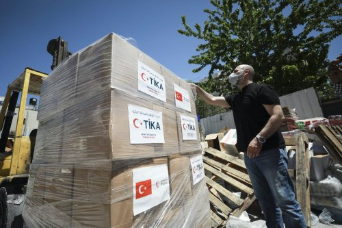 Turkish Cooperation and Coordination Agency's (TIKA) aid packages are seen before they were distributed to people in need in Ramallah, West Bank on 4 May 2020. [Issam Rimawi - Anadolu Agency]