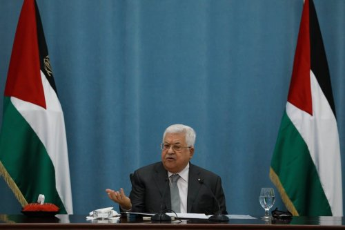 Palestinian President Mahmoud Abbas attends a executive council meeting of Palestine Liberation Organization (PLO) in Ramallah, West Bank on 7 May 2020 [Issam Rimawi/Anadolu Agency]