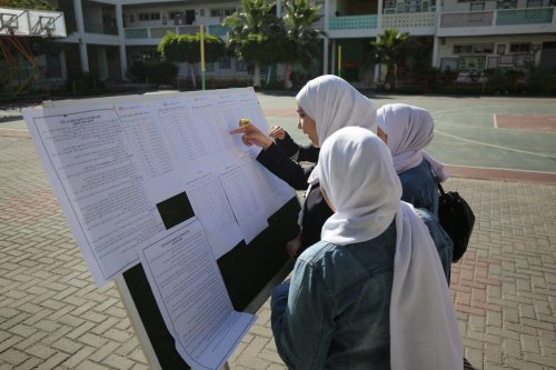 Students in Gaza seen during their high school final exams, on 30 May 2020 [Mohammed Asad / Middle East Monitor]
