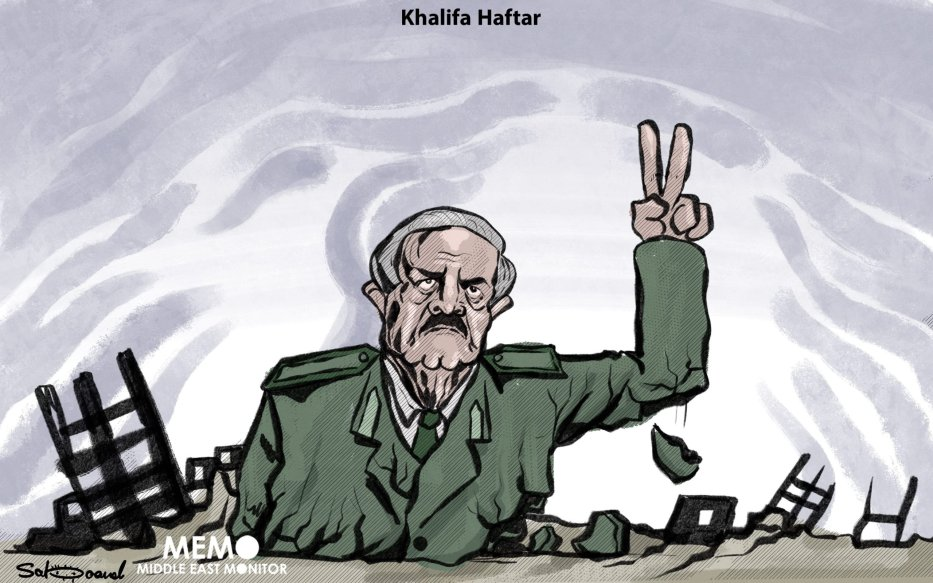 Libyan Field Marshal Khalifa Haftar has declared a ceasefire in his conflict during the holy month of #Ramadan. Will it last? - Cartoon [Sabaaneh/MiddleEastMonitor]