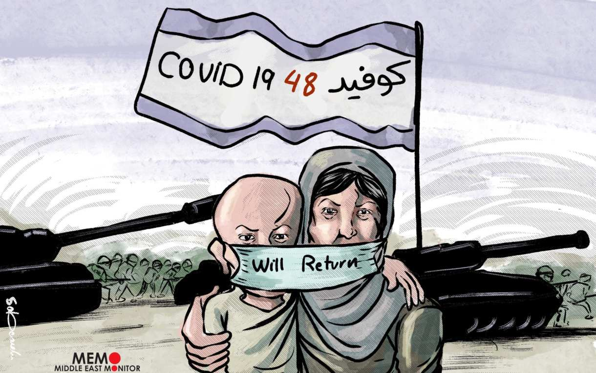 Remembering the Nakba during Covid-19 Pandemic - Cartoon [Sabaaneh/MiddleEastMonitor]