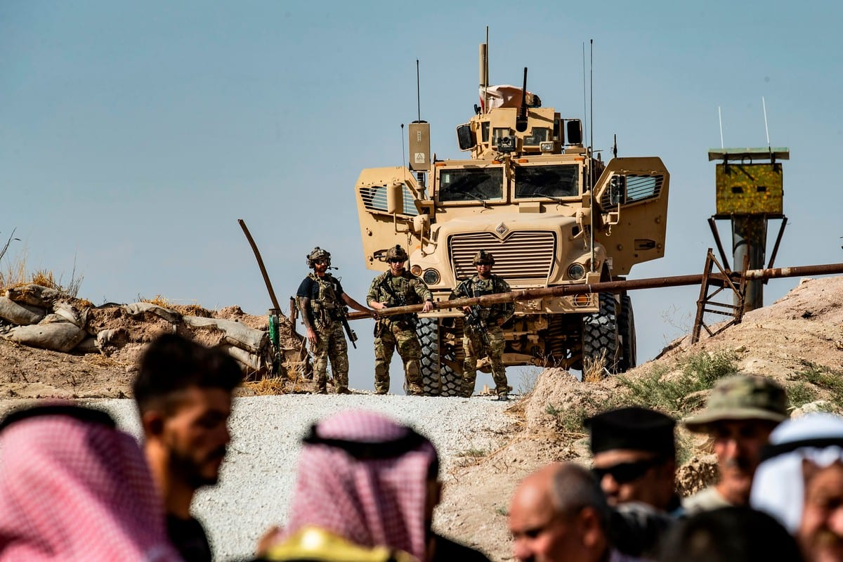 Syrian Kurds in Syria's Hasakeh province on 6 October 2019 [DELIL SOULEIMAN/AFP/Getty Images]