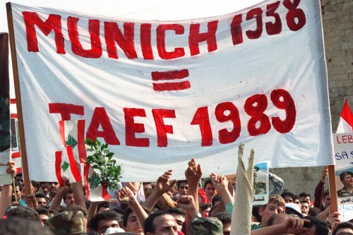 People come together to mark the Taif agreement on 4 November 1989 in Lebanon