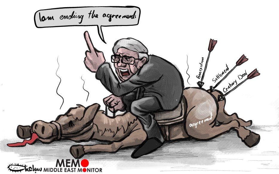 Palestine president Abbas ends 'all agreements' with Israel, US - Cartoon [Sabaaneh/MiddleEastMonitor]