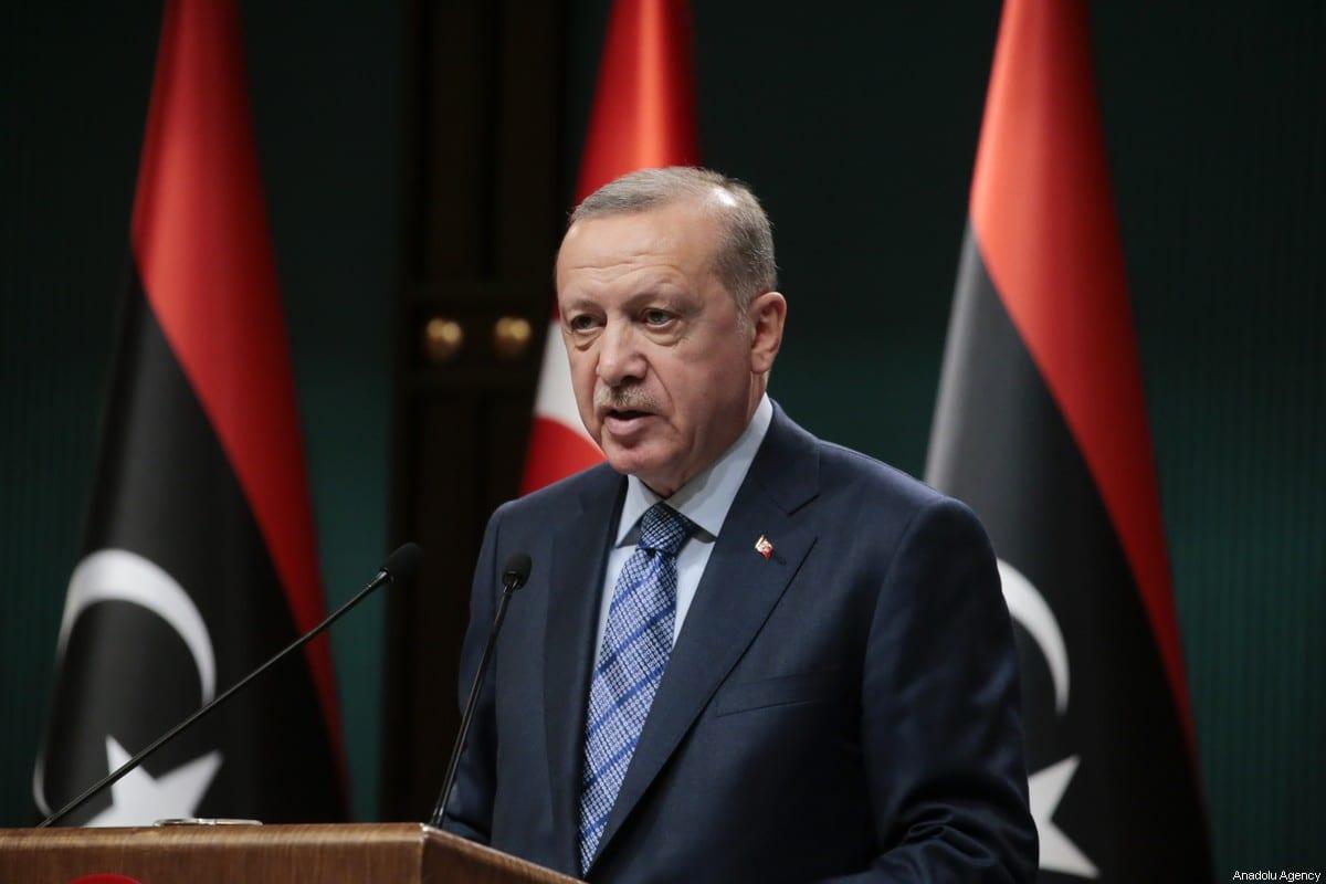 Turkish President Recep Tayyip Erdogan and Libyan Prime Minister Fayez al-Sarraj (not seen) hold a joint press conference at Presidential Complex in Ankara, Turkey on June 4, 2020 [Metin Aktaş / Anadolu Agency]