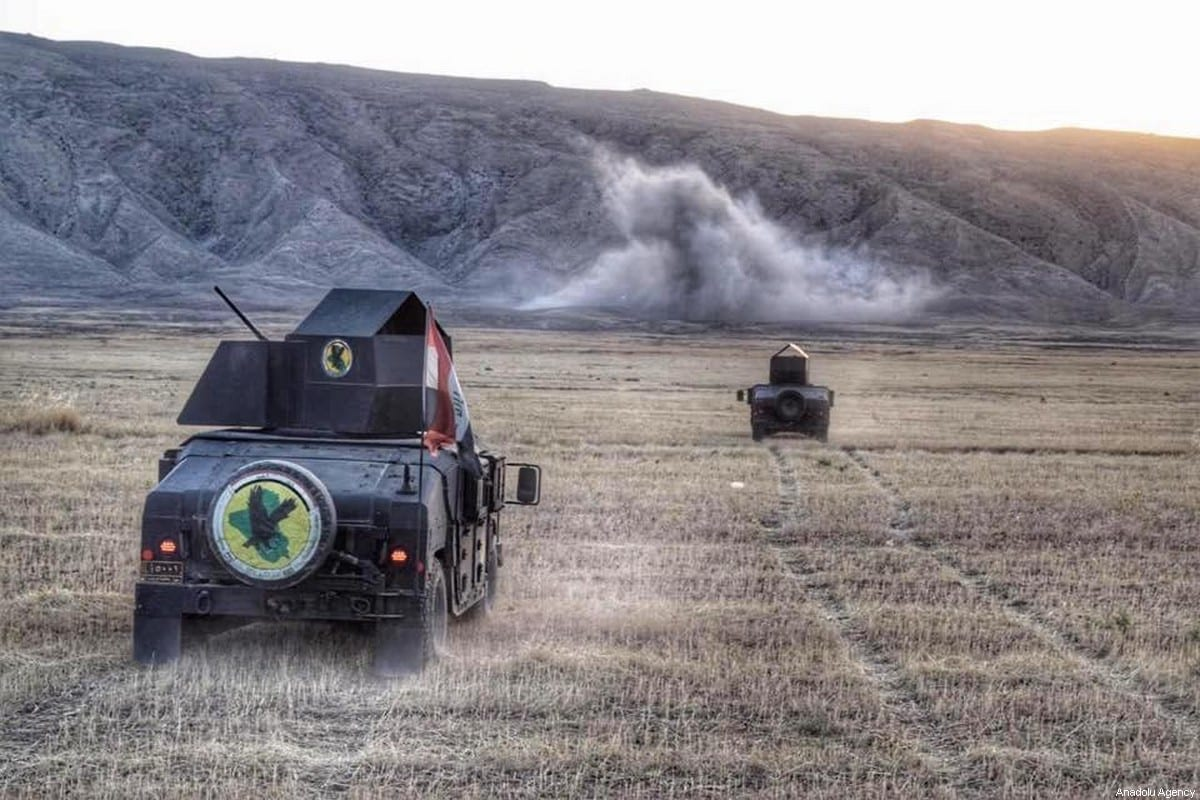 Iraqi military vehicles are seen during the third day of an operation launched against Daesh in southwestern of Kirkuk, Iraq on June 4, 2020 [Ali Makram Ghareeb / Anadolu Agency]