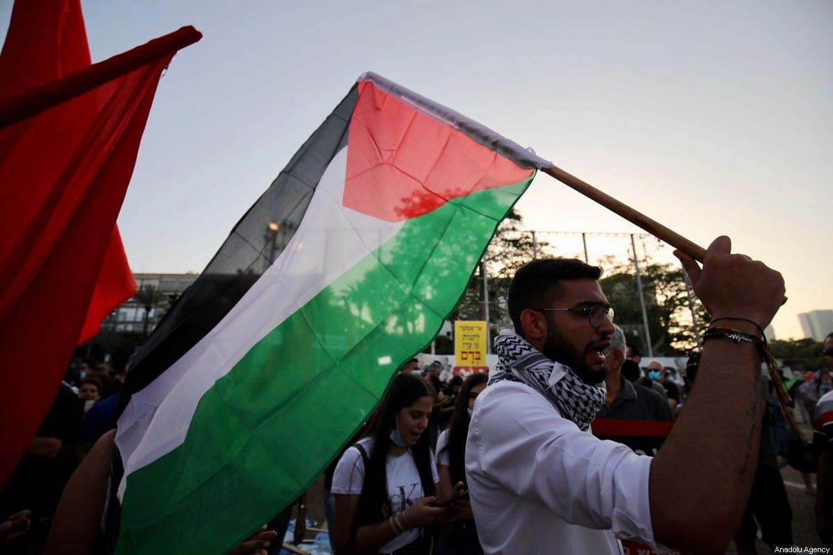 Israelis gather to stage a demonstration to protest against Israel's annexation plan for the illegal settlements in West Bank and Jordan Valley, in Tel Aviv, Israel on June 6, 2020 [Mostafa Alkharouf / Anadolu Agency]