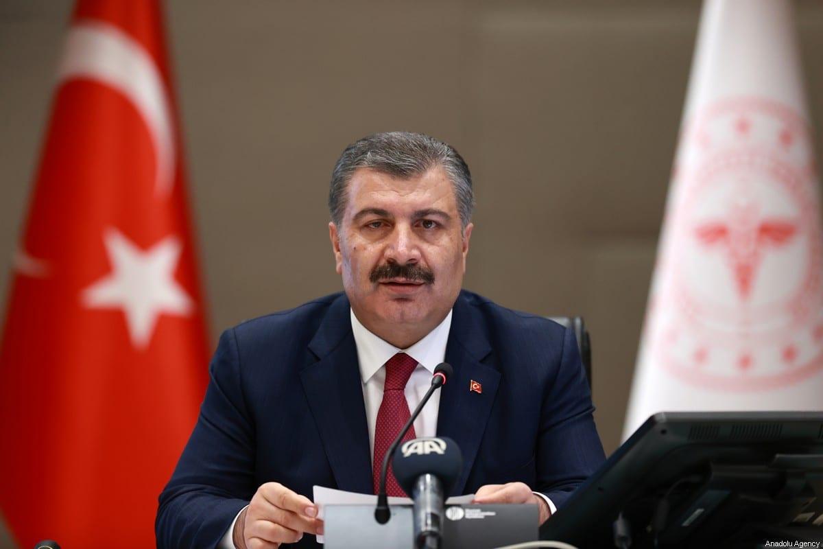 Turkish Health Minister, Fahrettin Koca speaks to media after the Science Board Meeting on Coronavirus (COVID-19) held via video conference in Ankara, Turkey on June on 10 June, 2020 [Aytuğ Can Sencar/Anadolu Agency]