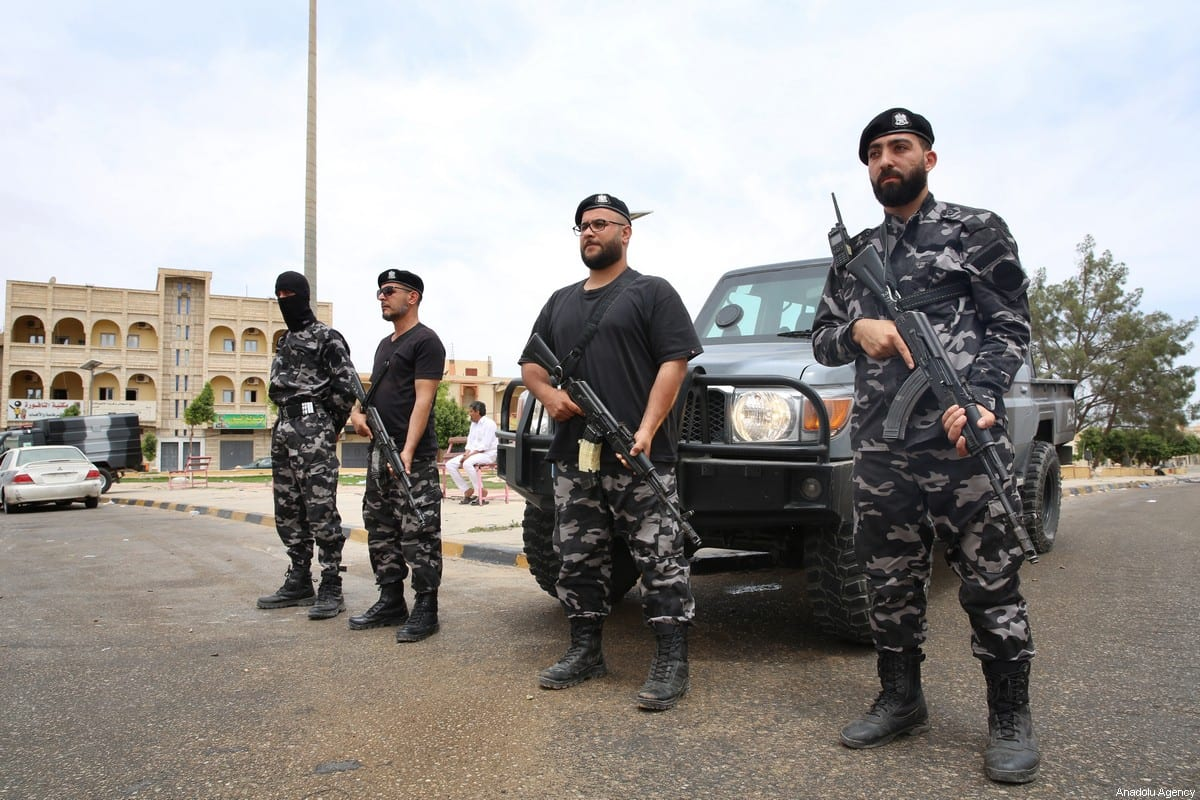 Libyan security forces stand guard at a checkpoint to increase precautions after seizing Tarhunah province of Libya from militias of warlord Khalifa Haftar on June 11, 2020 [Hazem Turkia - Anadolu Agency]