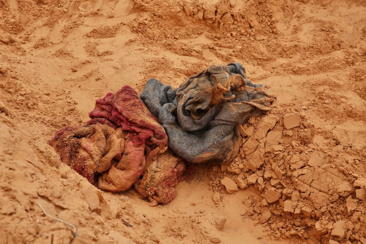 Bodies are found in a number of mass graves in Tarhuna after the province liberated from the militia loyal to warlord Khalifa Haftar, in Libya on June 11, 2020. [Hazem Turkia - Anadolu Agency]