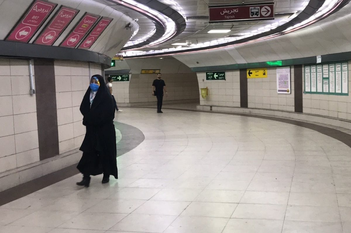 A view of nearly empty subway station due to the current increasing case level of the novel coronavirus (COVID-19) pandemic as citizens continue to stay at home even though government has lifted coronavirus restrictions in Tehran, Iran on 16 June 2020. [ Muhammet Kurşun - Anadolu Agency]