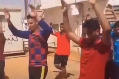 A screen grab from a video that went viral on social media which shows Egyptian labourers being abused in Libya, 14 June 2020