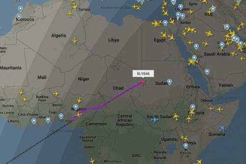 A screenshot from a flight tracker site showing an El Al flight over Sudan's airspace, June 4, 2020. [Screenshot: flightradar24]