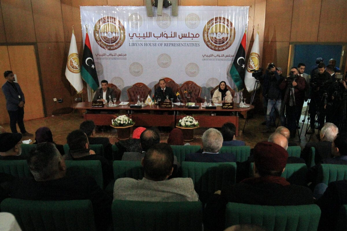 The Libyan House of Representatives (HOR) holds a session in the eastern Libyan city of Benghazi on 4 January 2020 [ABDULLAH DOMA/AFP/Getty Images]