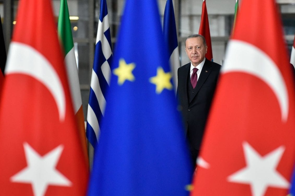 Turkish President Recep Tayyip Erdogan arrives before a meeting with European Commission President and EU Council President at the EU headquarters in Brussels on 9 March, 2020 [JOHN THYS/AFP via Getty Images]