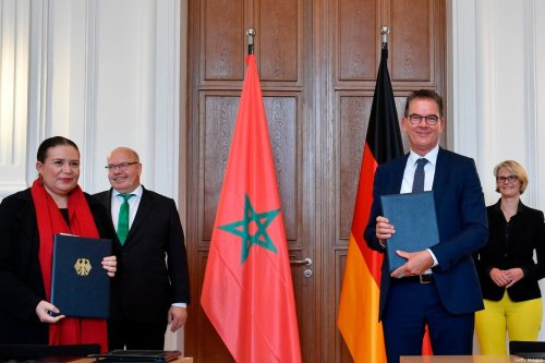 German Development Minister Gerd Mueller (2nd R), Zohour Alaoui (L), the ambassador of Morocco to Germany on June 10, 2020 in Berlin [JOHN MACDOUGALL/AFP via Getty Images]