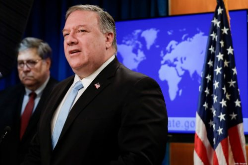 US Secretary of State Mike Pompeo (R) holds a joint news conference on the International Criminal Court with US Attorney General William Barr, at the State Department in Washington, DC, on June 11, 2020 [YURI GRIPAS/POOL/AFP via Getty Images]
