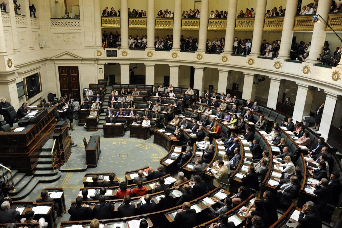 This photo shows a general view of the chambers with almost every chamber member present during the plenary session at the federal parliament, in Brussels, on April 29, 2010. [JOHN THYS/AFP via Getty Images]