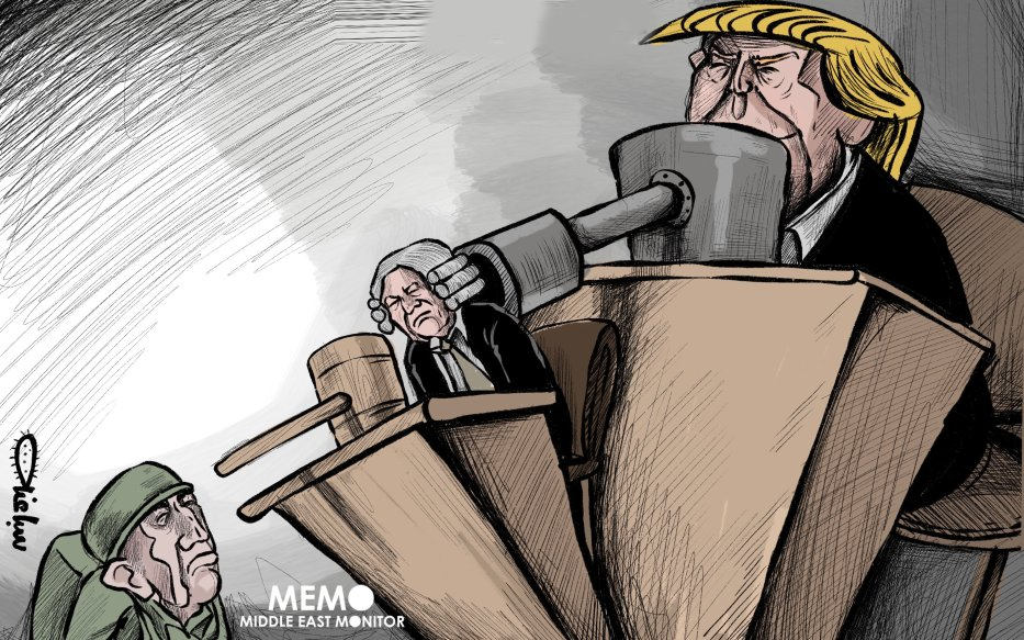 Trump sanctions ICC to protect Israel - Cartoon [Sabaaneh/MiddleEastMonitor]