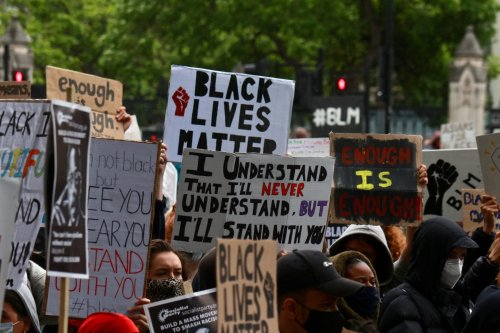Black Lives Matter protests take place in London on 7 June 2020 [Lauren Lewis/Middle East Monitor]