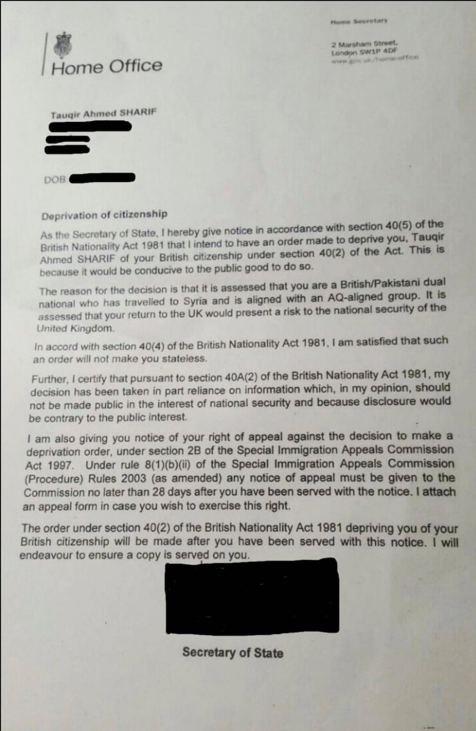 Letter from the Home Office revoking the British citizenship of Tauqir Sharif