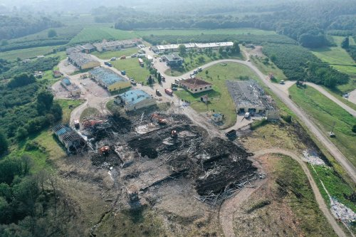A drone photo shows the destruction after an explosion at a firework factory in Hendek district of Sakarya, Turkey on 4 July 2020. [Muhammed Enes Yıldırım - Anadolu Agency]