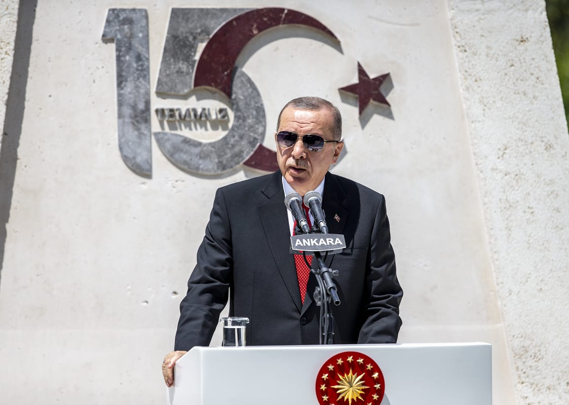 Turkish President Recep Tayyip Erdogan speaks at the Turkish Grand National Assembly in Ankara, Turkey on 15 July, 2020 [Ali Balıkçı/Anadolu Agency]