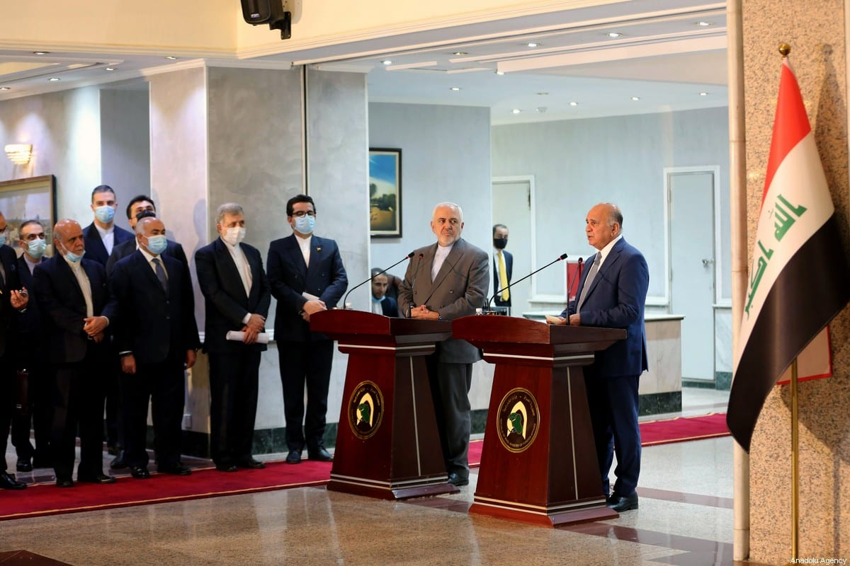 Iraqi Foreign Minister Fuad Hussein (R) makes a speech as he holds a joint press conference with the attendance of Iranian Foreign Minister Mohammad Javad Zarif (L) following their meeting in Baghdad, Iraq on 19 July 2020. [Murtadha Al-Sudani - Anadolu Agency]