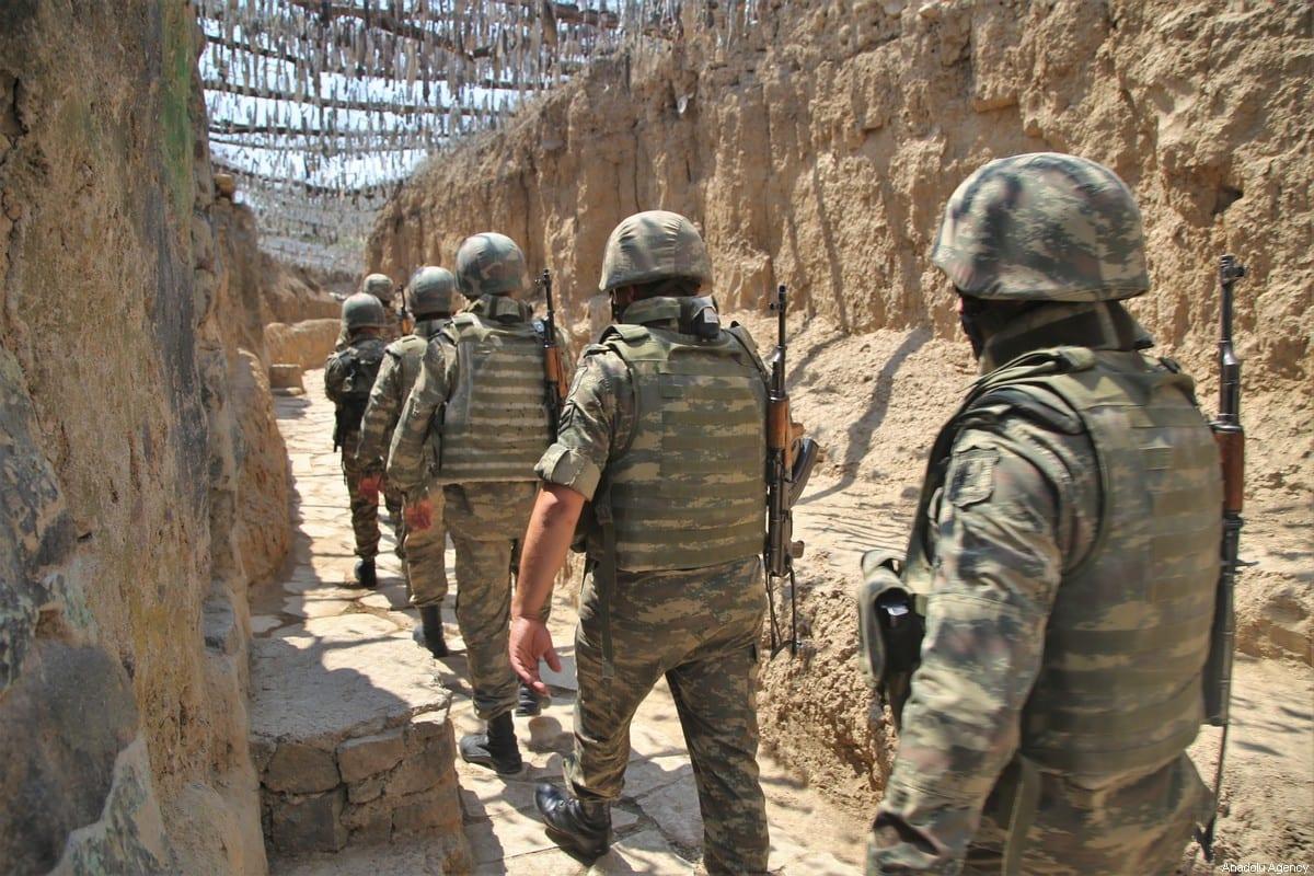 Azerbaijani soldiers in Tovuz, Azerbaijan on 18 July 2020 [Resul Rehimov/Anadolu Agency]