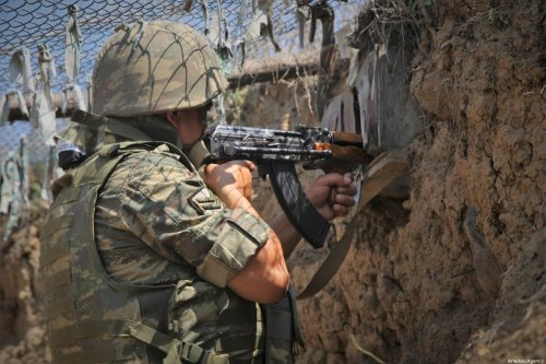 An Azerbaijani soldier in Tovuz, Azerbaijan on 18 July 2020 [Resul Rehimov/Anadolu Agency]