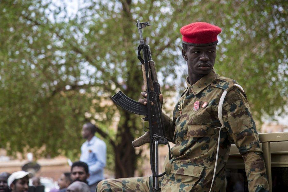 A Sudanese military personnel seen in Khartoum, Sudan on July 21, 2020 [Mahmoud Hjaj / Anadolu Agency]