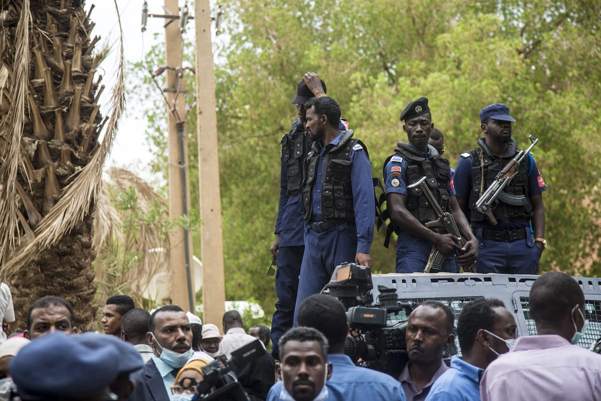 Security measures are taken at the Judicial and Legal Science Institute for the trial of ousted former Sudanese President Omar al-Bashir and his companions in Khartoum, Sudan on 21 July 2020. [Mahmoud Hjaj - Anadolu Agency]