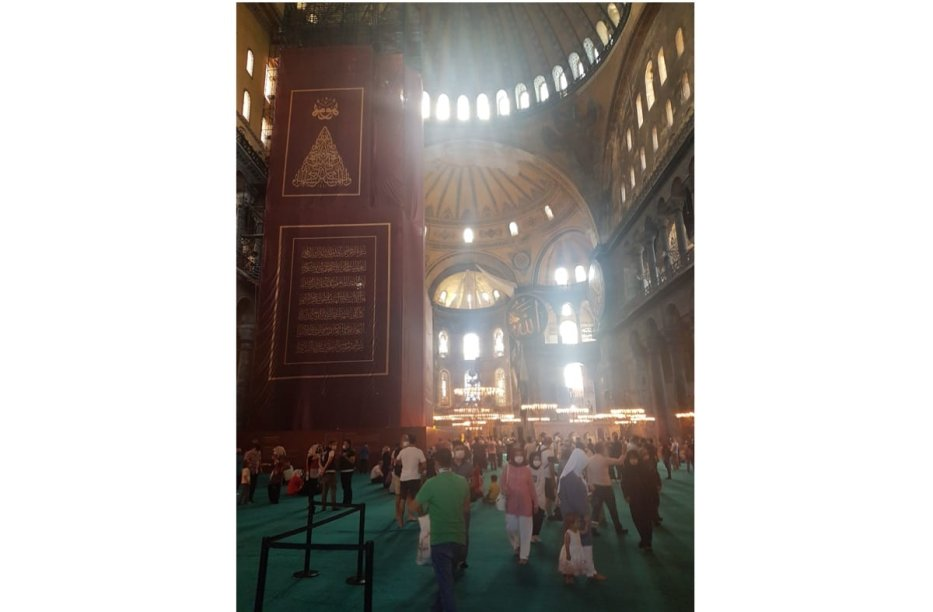 Inside the Hagia Sophia Grand Mosque, 26/07/2020 [Omar Ahmad/Middle East Monitor]