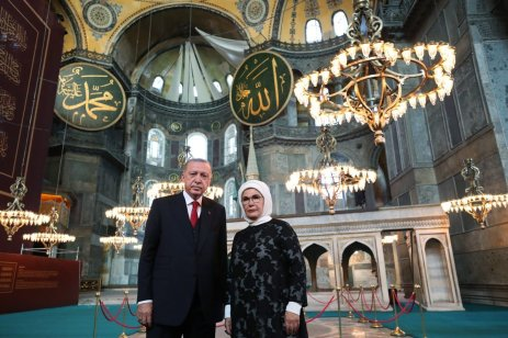 Turkish President Recep Tayyip Erdogan poses for a photo with his wife Emine Erdogan during his visit to Hagia Sophia Mosque in Istanbul, Turkey on 23 July 2020 [TUR Presidency Murat Cetinmuhurdar/Anadolu Agency]