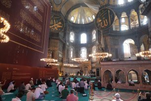 Prayer held at the Hagia Sophia Mosque for the first time after 86 years on 24 July 2020 in Istanbul, Turkey [Mustafa Kamacı/Anadolu Agency]