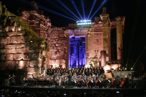 Lebanese singer Marcel Khalife performs during a concert at the steps of the Temple of Bacchus on the opening night of the Baalbek International Festival in Lebanon's eastern Bekaa Valley on 5 July, 2019 [AFP via Getty Images]