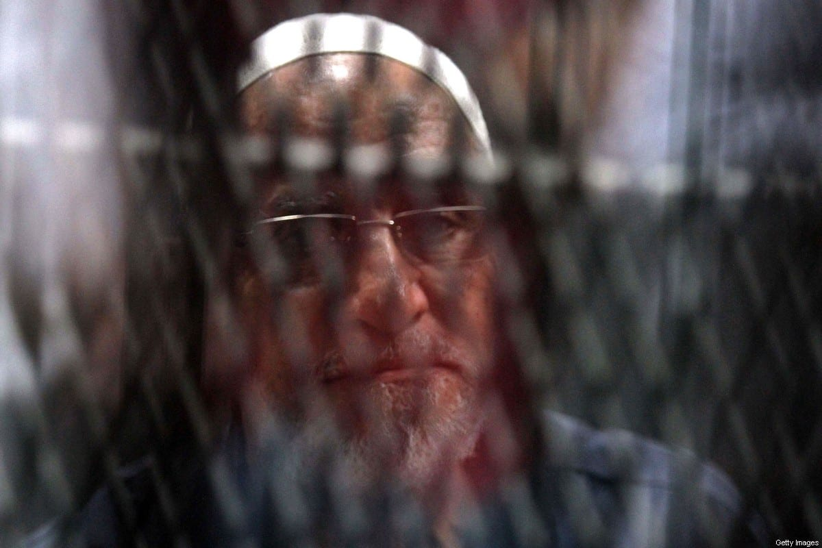 Egyptian Muslim Brotherhood Supreme Guide Mohamed Badie at the Tora courthouse complex in Cairo, Egypt on 11 September 2019 [KHALED KAMEL/AFP/Getty Images]