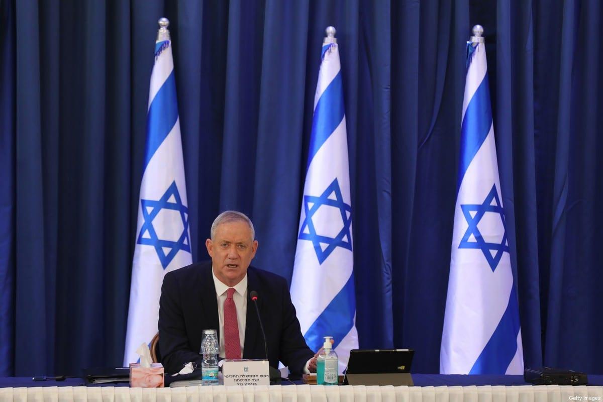 Israeli defence minister and alternate prime minister Benny Gantz in Jerusalem on 21 June 2020 [ABIR SULTAN/POOL/AFP/Getty Images]
