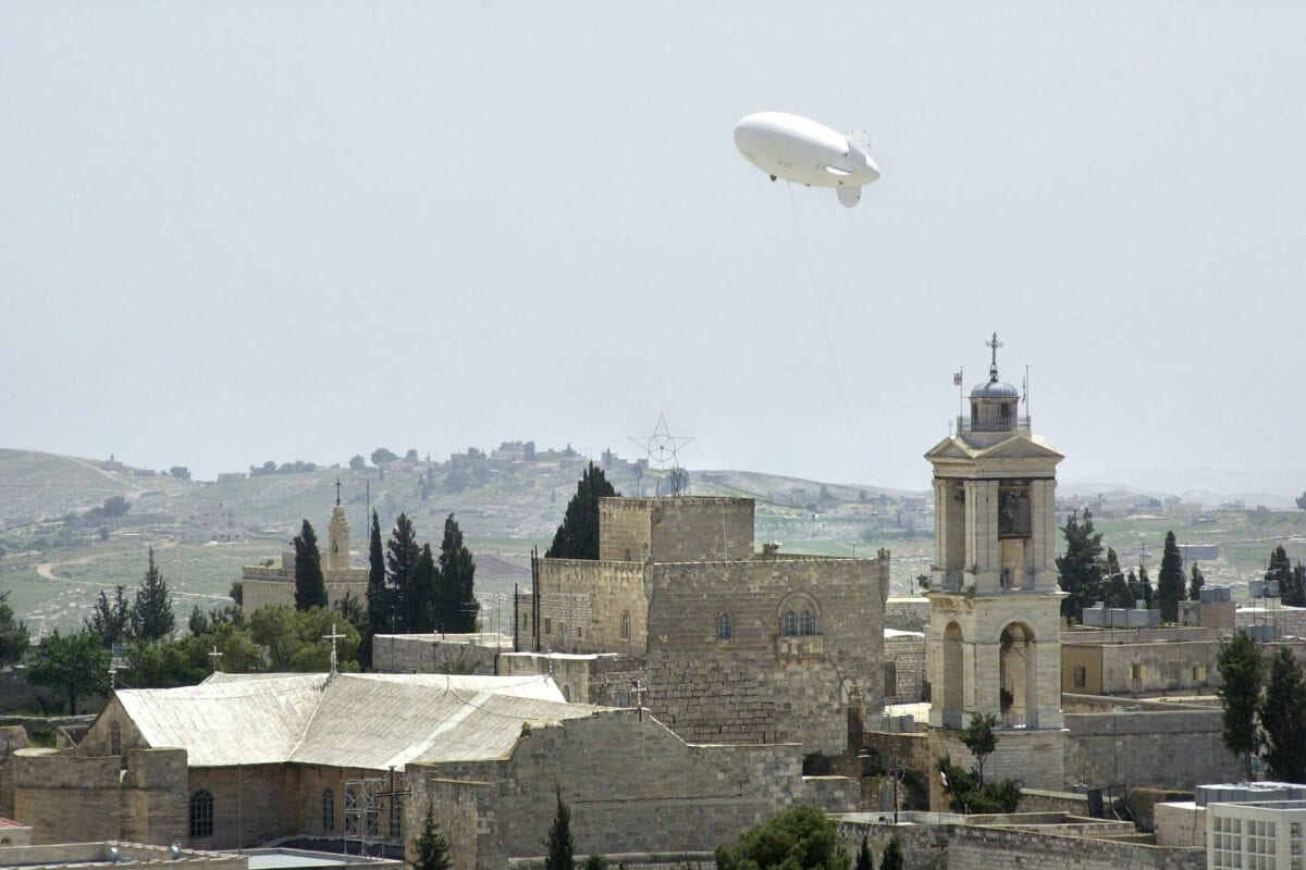 Israeli defense forces release what is believed to be an observation balloon above the Church of Nativity April 13, 2002 in the Palestinian West Bank town of Bethlehem [Graham Morrison/Getty Images]