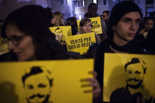 Candlelight procession for Italian student Giulio Regeni who was murdered in Egypt, 25 January 2018 [Antonio Masiello/Getty Images]
