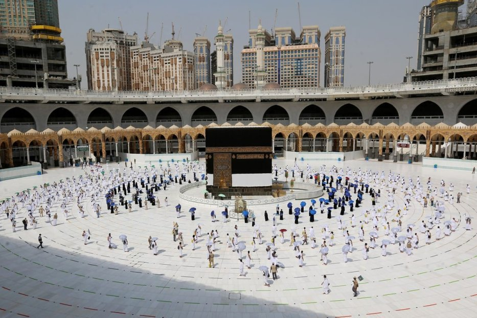 Pilgrims around the Kaaba during Hajj season on 29 July 2020 [STR/AFP/Getty Images]
