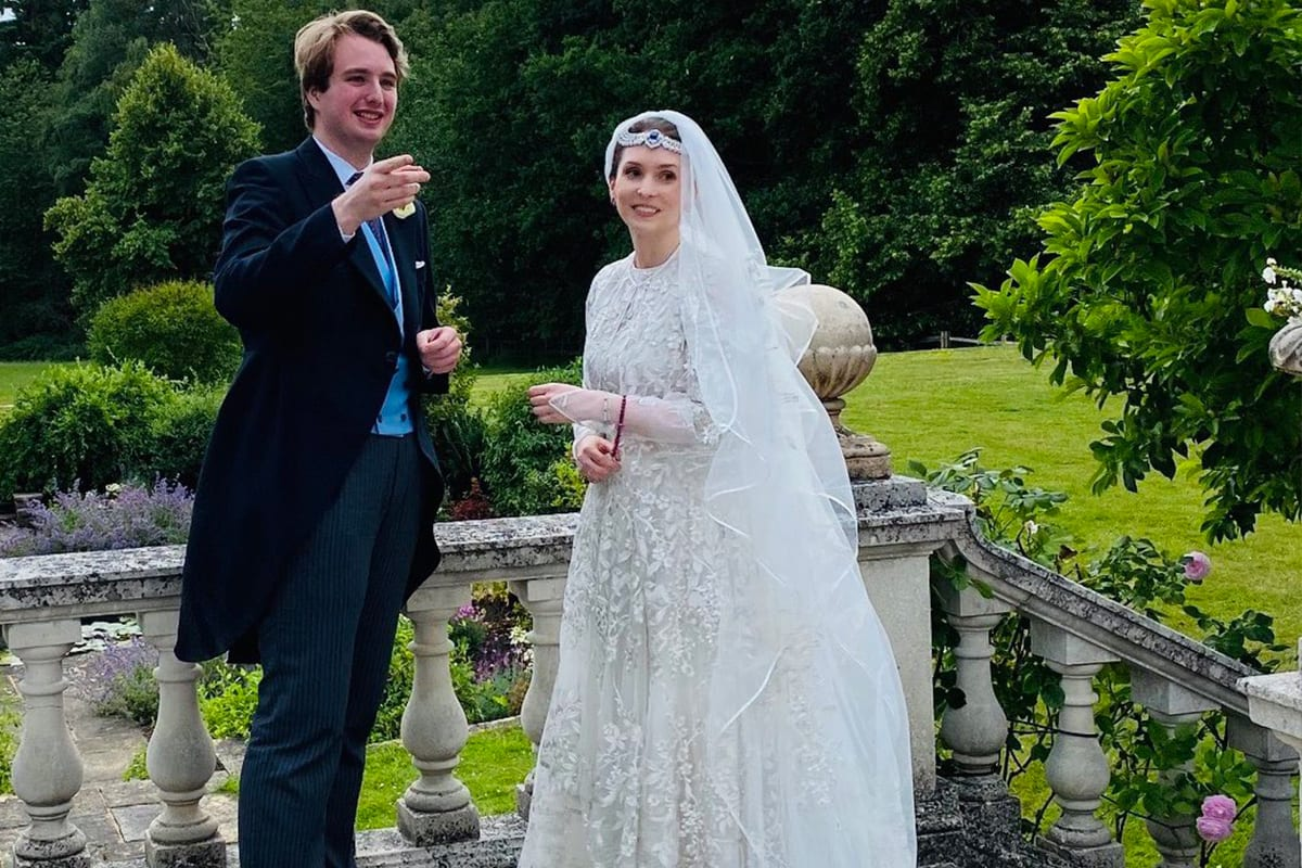 Jordan's Princess Raiyah Bint Al-Hussein and Ned Donovan, the grandson of British author Roald Dahl on their wedding day in England, 7 July 2020 [Raiyah bint Al-Hussein/Twitter]