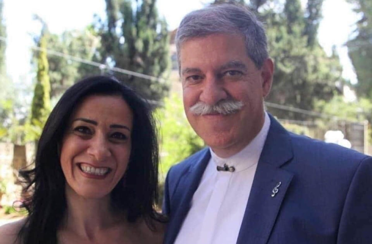Suhail Khoury, director of the Edward Said National Conservatory and Rania Elia, director of the Yabous Cultural Centre [Yafa Jarrar/Twitter]