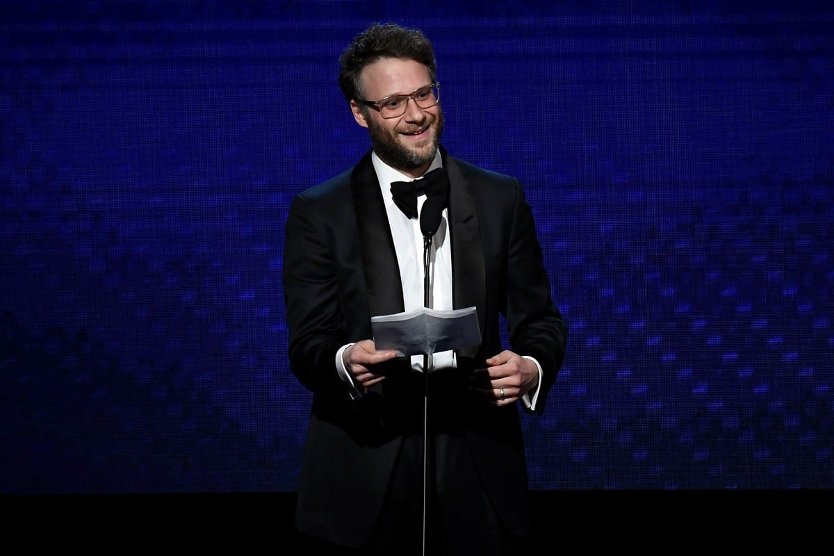 Seth Rogen speaks onstage at the Beverly Hilton Hotel on 8 November 2019 in California, US [Frazer Harrison/Getty Images]