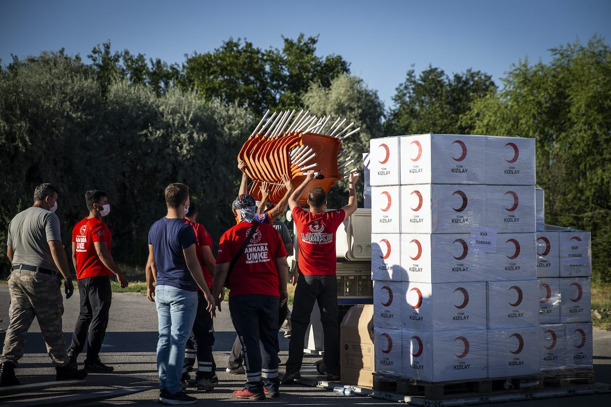 Medical aids are being prepared to be sent to Lebanon by Turkish Health Ministry, Disaster and Emergency Management Presidency (AFAD) and Turkish Red Crescent, at Etimesgut military airport in Ankara, Turkey on 5 August 2020. [Özge Elif Kızıl - Anadolu Agency]